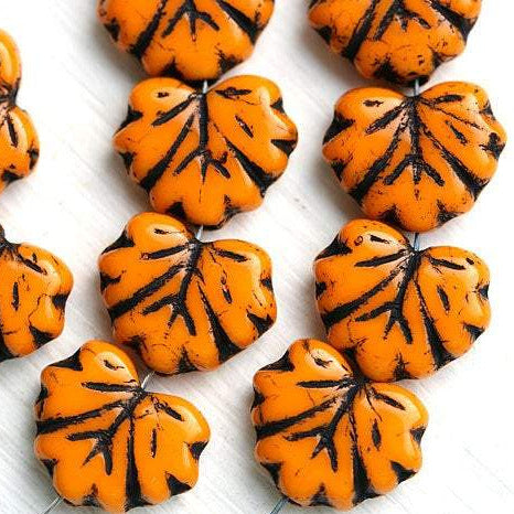 11x13mm Orange Maple Leaf beads, Black Inlays, Czech glass leaves, 10pc