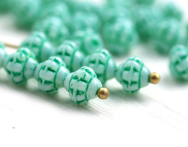 Mint green small fancy bicones, Czech Glass pressed bicones - 90pc