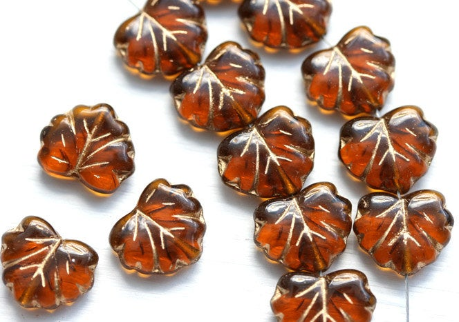 11x13mm Topaz Leaf Beads, Maple leaves, Czech Glass pressed beads, Golden inlays - 10pc