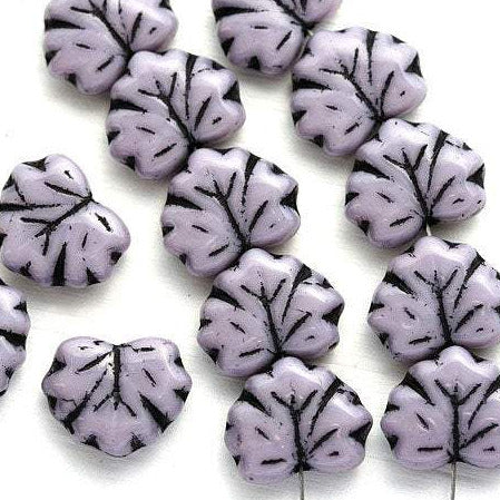 11x13mm Violet Fancy Leaf beads, Light Purple Maple glass leaves, Black Inlays, 10pc