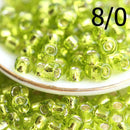 8/0 Toho seed beads, Silver Lined Lime Green, N 24 - 10g
