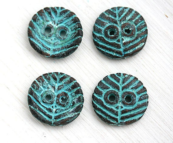 2pc Round Metal copper Buttons, green patina on copper