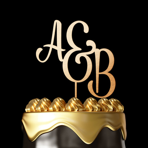 Personalized Cake Topper A&B - Wedding Cake Topper by Luxtomi