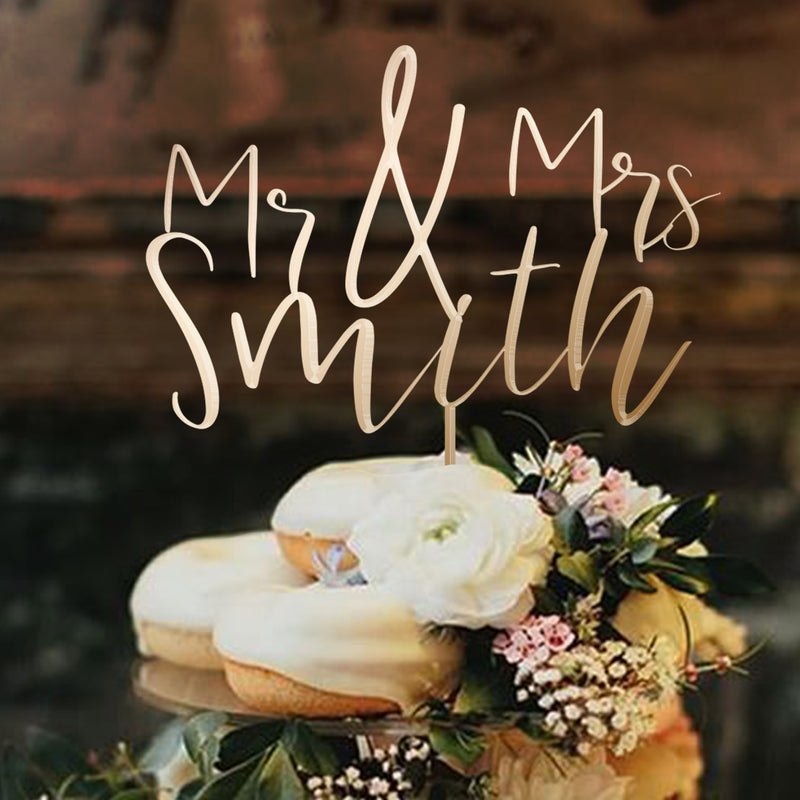 Personalized Wedding Cake Topper - Mr Mrs Cake Toppers Names - Cake Decorations, Rustic Wedding Cake Topper for Bride and Groom