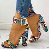 Women's Snakeskin Chunky Heeled Buckle Sandals