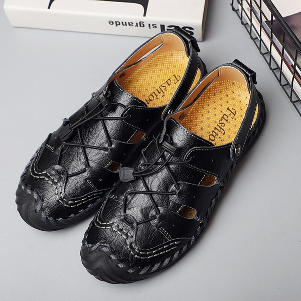 Men Hand Stitching Non Slip Elastic Lace Outdoor Casual Leather Sandals
