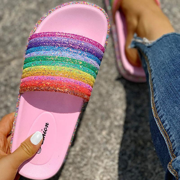 Colorful Rainbow Sequins Flat Sandals