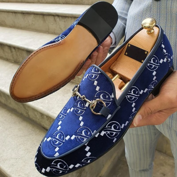 Gentleman British Style Printed Velvet Loafers