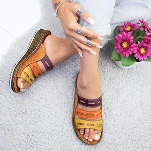 Color Splicing Peep Toe Platform Slippers Wedge Sandals