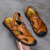 Large Size Hand Stitching Leather Anti-collision Soft Sole Casual Sandals