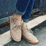 Large Size Women Comfy Suede Braided Scallop Strappy Flat Casual Shoes