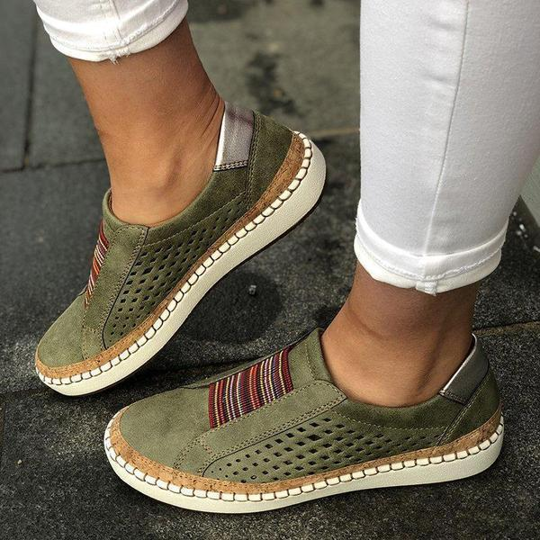 Large Size Women Casual Breathable Hollow Slip On Flat Loafers