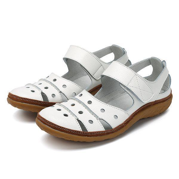 Women's Comfy Leather Hollow Hook Casual Flat Sandals