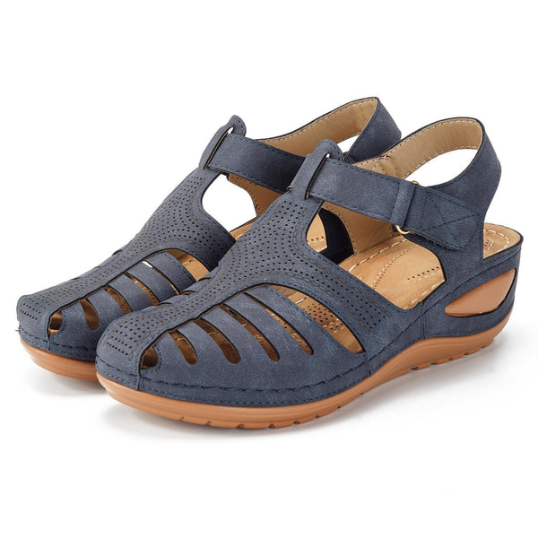 Women Hollow Out Pure Color Breathable  Lightweight Leather Sandals
