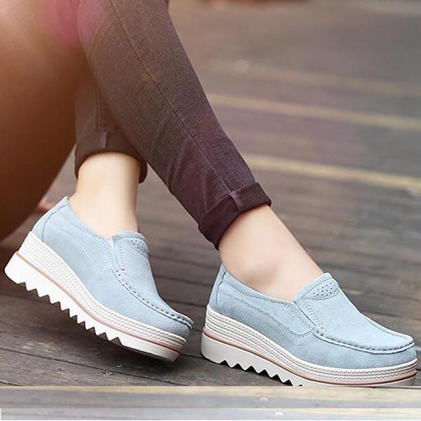 Ladies Breathable Suede Round Toe Slip On Platform Shoes