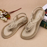 #Summer Hot Item🔥Large Size Handmade Knitting Clip Toe Elastic Flat Sandals