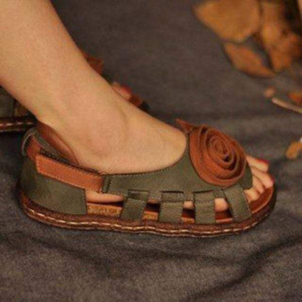 Handmade Women's Leather Hollow Sandals