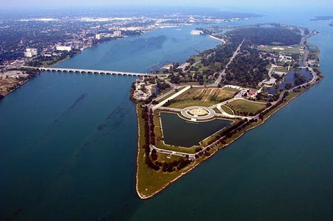 View of Belle Isle from above