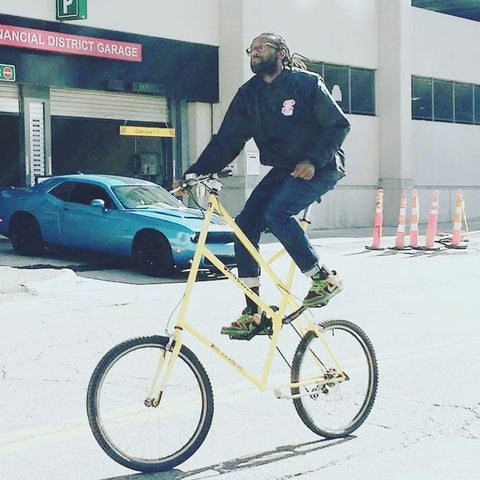 Jason Hall riding his bike