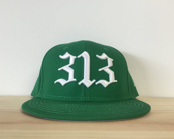 313 - Flat Bill Puff Print Snap Back Hat - Green - The Great Lakes State