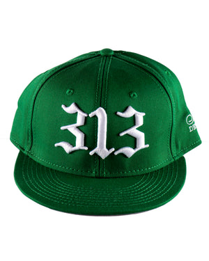 313 - Flat Bill Puff Print Snap Back Hat - Green