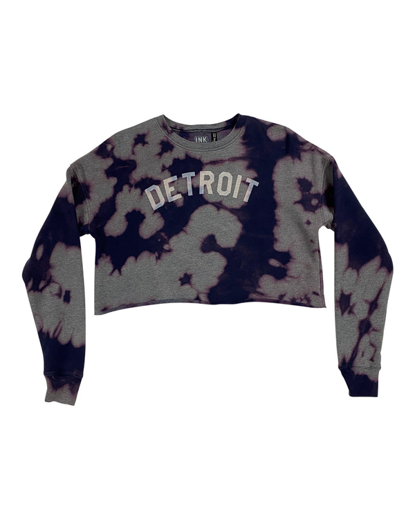 Basic Detroit Women's Tie Dye Cropped Fleece Crewneck Sweatshirt - Navy