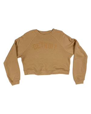 Basic Detroit Women's Raglan Pullover Fleece Sweatshirt - Sand