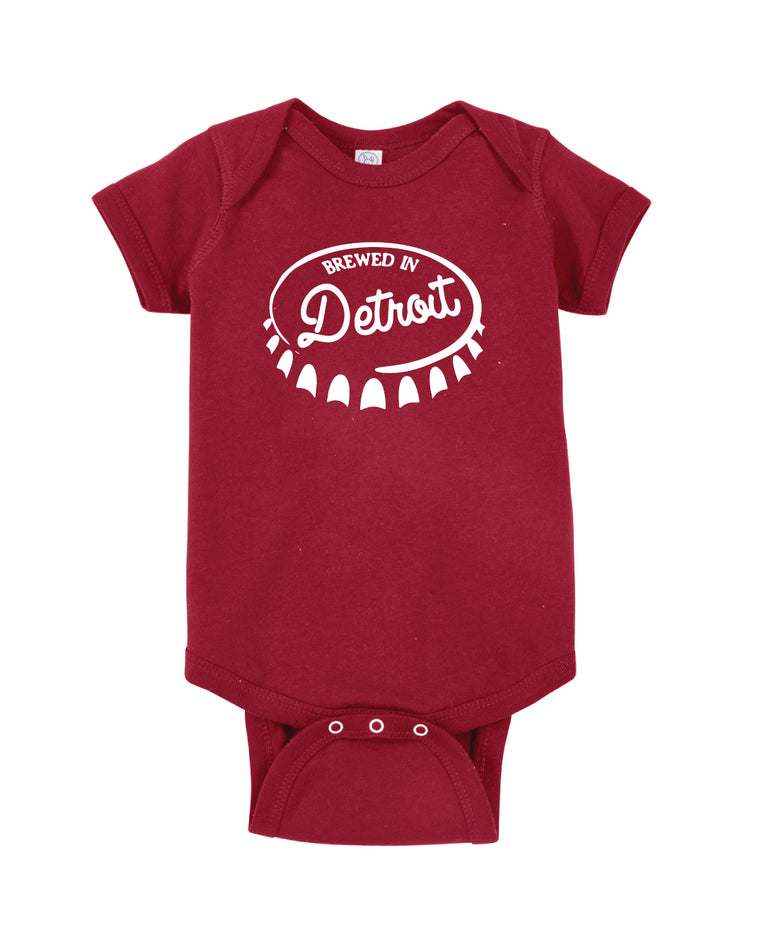 Brewed In Detroit Baby Onesie - Garnet