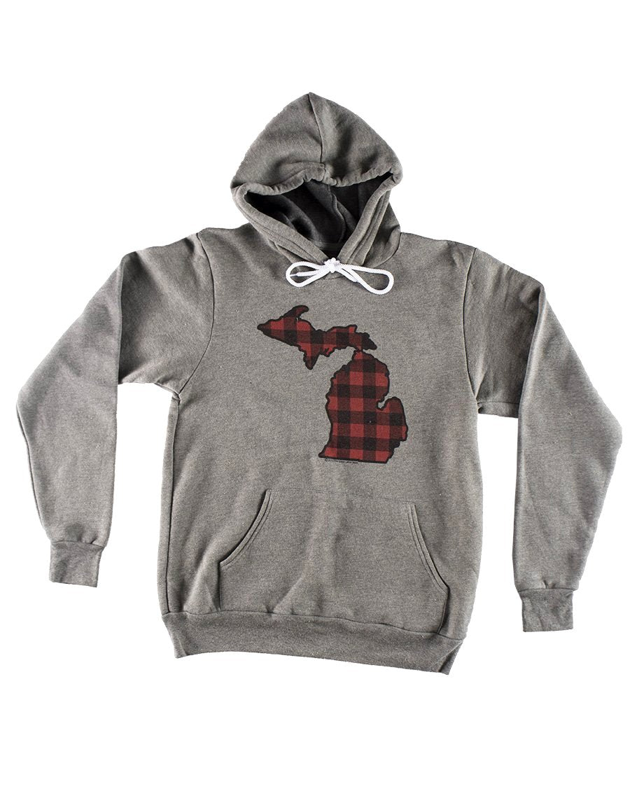 Michigan Buffalo Plaid Hoodie - Heather Grey - The Great Lakes State