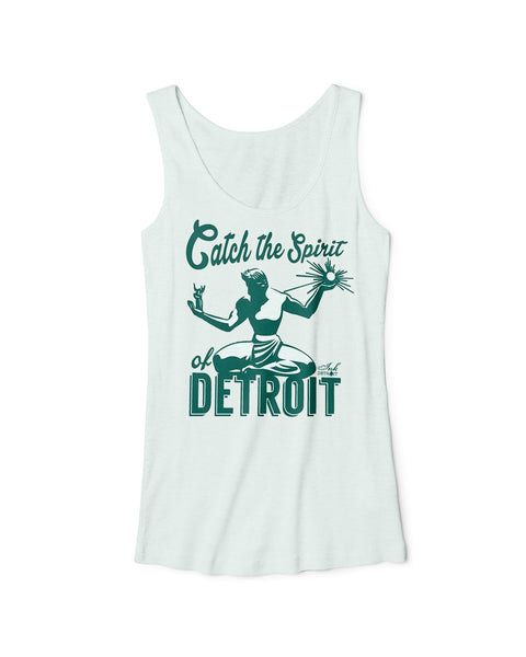 Catch The Spirit of Detroit - Women's -  Tri-Blend Racerback Tank Top - Mint Green