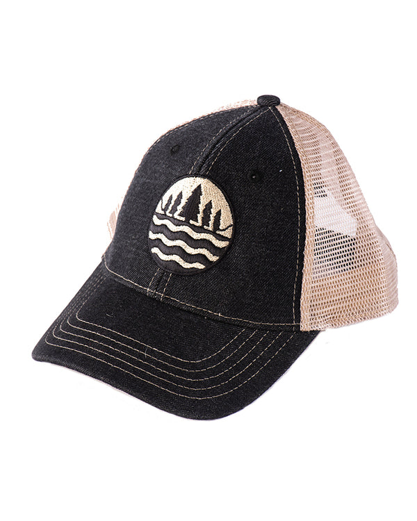 The Great Lakes State Black Denim Mesh Back Emblem Cap