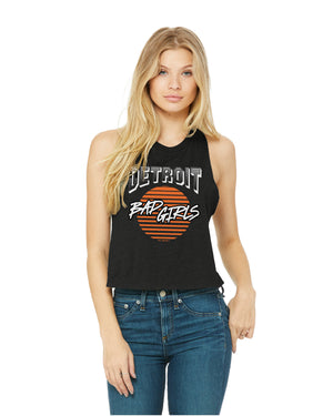 Detroit Bad Girls Racerback Crop Tank - Black