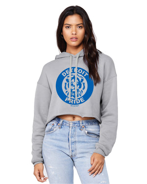 Detroit Pride Fleece Crop Hoodie - Storm Grey