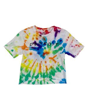 Detroit Friends 6 Color Spiral Tie Dye Cropped T-Shirt