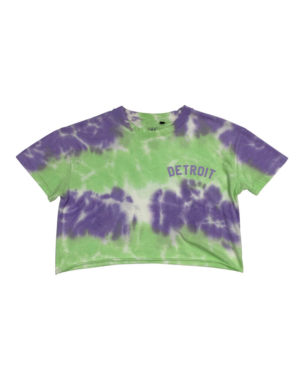 Basic Detroit Tie Dye Green & Lavender Cropped T-Shirt