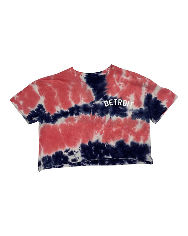 Basic Detroit Tie Dye Navy & Coral Cropped T-Shirt
