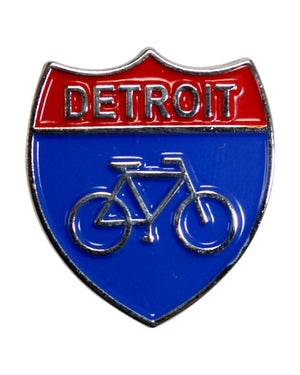 Detroit Bike Lane Enamel Pin