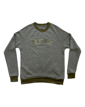 Basic Detroit Grey and Camouflage Trim Crewneck Sweatshirt
