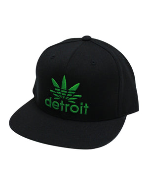 Detroit Cannabis - Flat Bill Puff Print Snap Back Hat - Black / Green