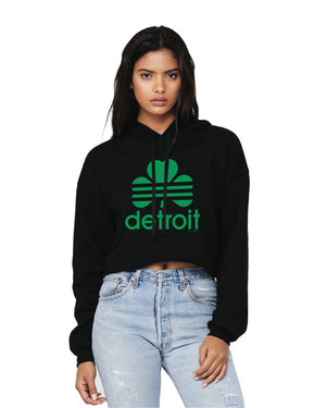 Detroit Retro Cloverleaf Fleece Crop Hoodie - Black
