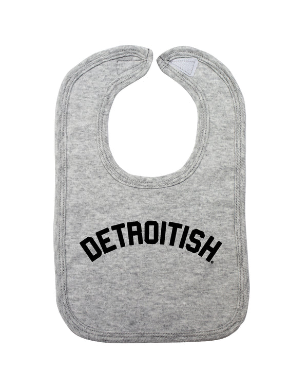 Detroitish Baby Bib - Heather Grey