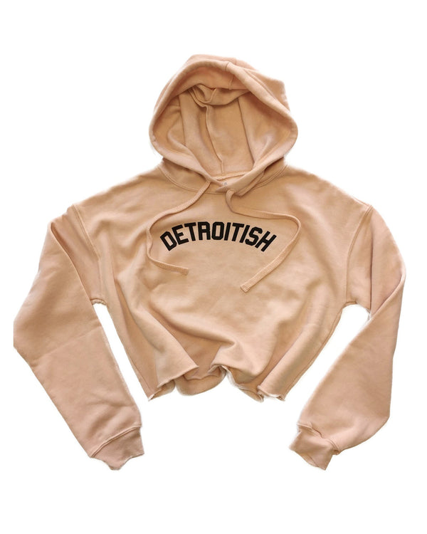 Detroitish Fleece Crop Hoodie - Peach - The Great Lakes State