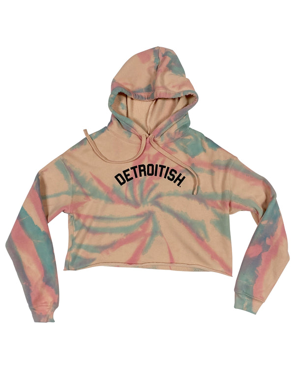 Limited Edition Detroitish Peach Fleece Crop Tie Dye Hoodie