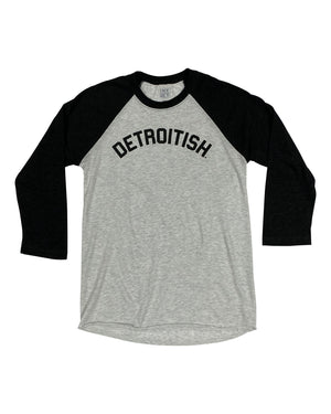 Detroitish - Unisex Tri-Blend 3/4 Sleeve Raglan T-Shirt - Black