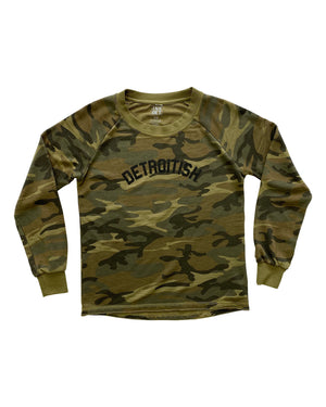 Detroitish Women's Camouflage French Terry Sweatshirt