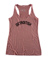 Detroitish Women's Racerback Tank Top - Mauve - The Great Lakes State