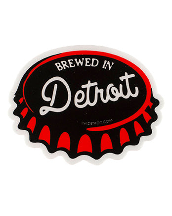 Brewed in detroit vinyl die cut bumper sticker the great lakes state