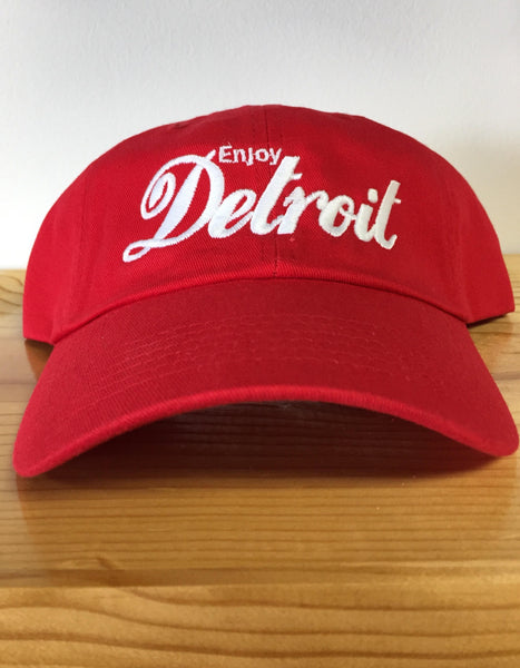 Enjoy Detroit Dad Cap - Red - The Great Lakes State