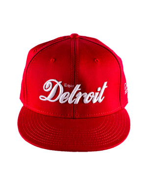Enjoy Detroit - Flat Bill Puff Print Snap Back Hat - Red / White
