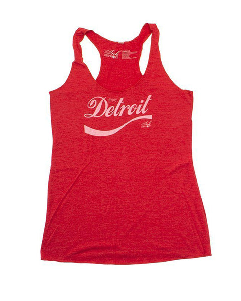 Enjoy Detroit - Women's - Tri-Blend Racerback Tank Top - Red - The Great Lakes State